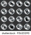 Restaurant Icons on Metallic Button Collection Original Illustration - stock vector