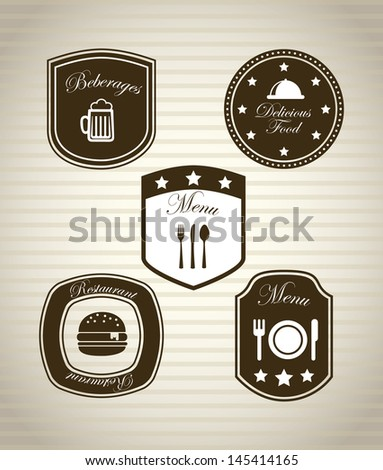 restaurant icons over vintage background vector illustration - stock vector