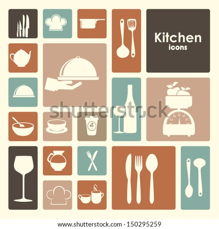 restaurant icons over white background vector illustration  - stock vector