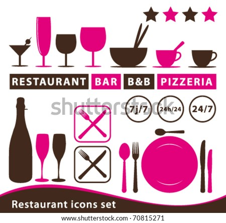 Restaurant icons set. Vector collection. - stock vector