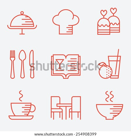 Restaurant icons, thin line style, flat design - stock vector