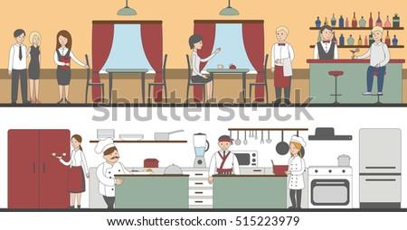 Restaurant Kitchen Illustration restaurant has dining room kitchen stock vector 267038270
