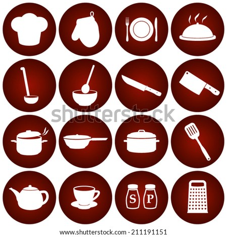 Restaurant Kitchen Cooking Icons - stock vector