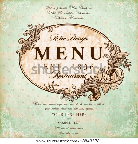 Restaurant Label Design with Old Floral Frame for Vintage Menu Design - stock vector
