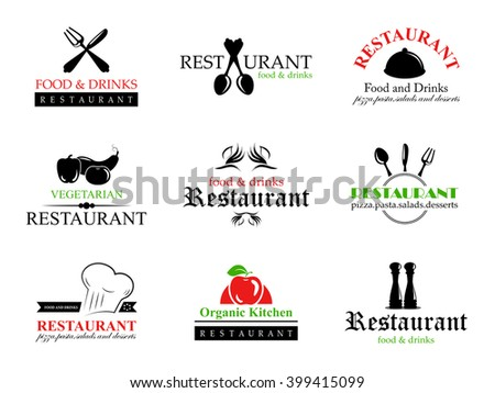 Restaurant Labels Set-Isolated On White Background-Vector Illustration,Graphic Design.Collection Of Restaurant, Bistro And Bar Icons