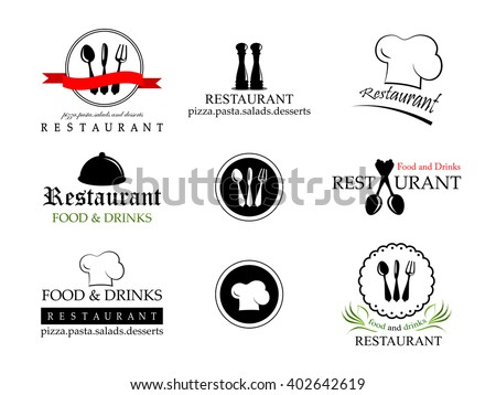 Restaurant Labels Set-Isolated On White Background-Vector Illustration,Graphic Design.Collection Of Restaurant, Bistro And Bar Icons - stock vector