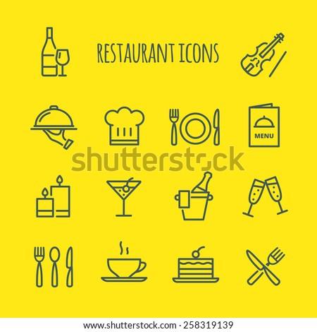 Restaurant Line Icons Set - stock vector