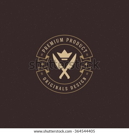 Restaurant Logo Template. Vector Design Element Vintage Style for Logotype, Label, Badge Menu Design. Restaurant Logo, Knifes Logo, Crown Logo, Cafe Logo, Restaurant Sign, Food Logo, Vintage Logo. - stock vector