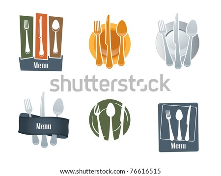Restaurant logo with spoon and fork - stock vector