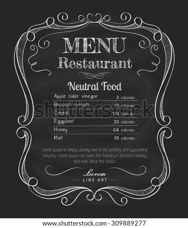 restaurant menu blackboard vintage hand drawn vectores en stock 309889277 shutterstock. Black Bedroom Furniture Sets. Home Design Ideas