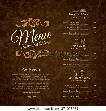 Restaurant menu design - stock vector