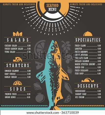 Restaurant menu design. Abstract menu layout concept for seafood cafe bar on dark black background. Document template. Print mock up. - stock vector