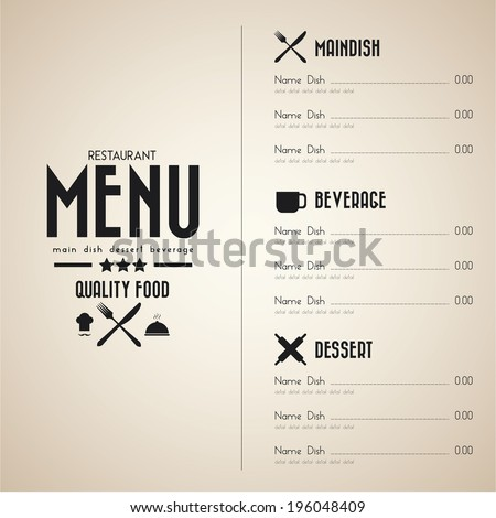 Restaurant menu design in vintage paper - stock vector