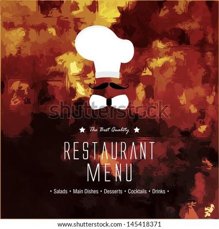 Restaurant menu design / Menu design with chef hat and mustache  - stock vector