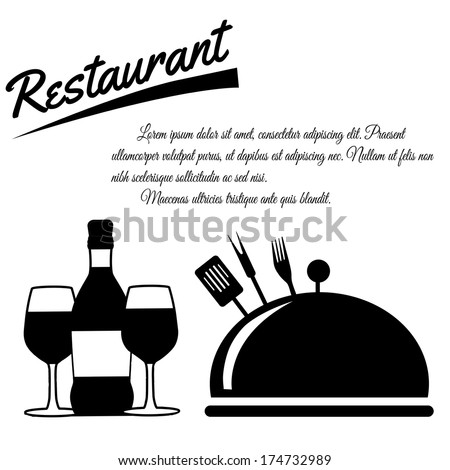 Restaurant menu design poster on white background with space for your text, vector illustration - stock vector