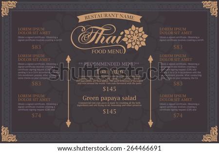 restaurant menu design. thai art - stock vector