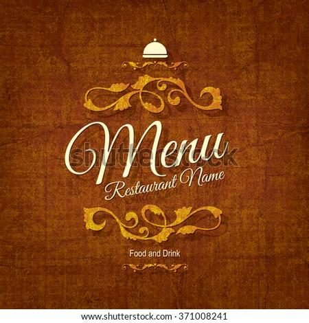 Restaurant menu design. Vector brochure template for cafe, coffee house, restaurant, bar. Food and drinks logotype symbol design. Vintage background - stock vector