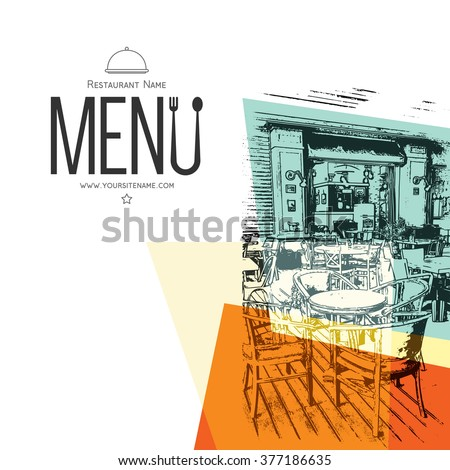 Restaurant menu design. Vector brochure template for cafe, coffee house, restaurant, bar. Food and drinks logotype symbol design. With a sketch pictures - stock vector