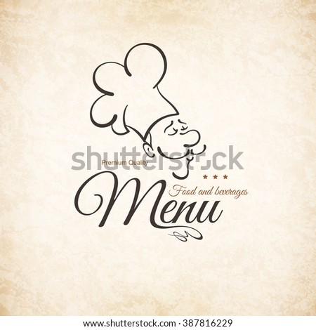 Restaurant menu design. Vector brochure template for cafe, coffee house, restaurant, bar. Food and drinks logotype symbol design. With funny chef on vintage background - stock vector