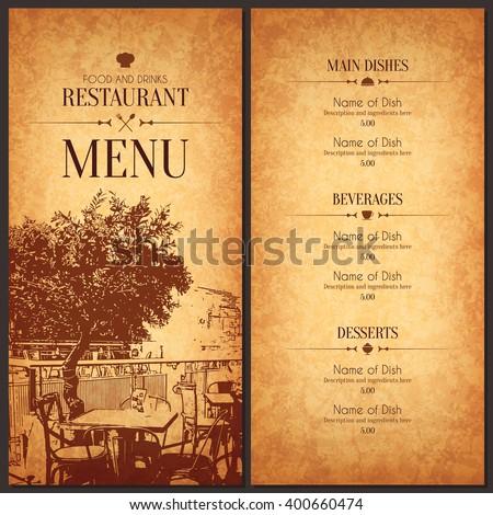 Restaurant menu design vector brochure template stock for Bar 88 food menu