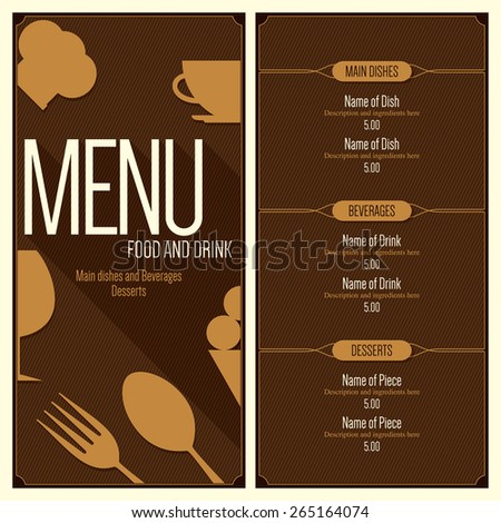Restaurant Menu Design Vector Menu Brochure Stock Vector 265164074