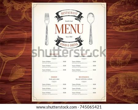 Restaurant Menu Design Vector Brochure Template Stock Vector - Menu brochure template