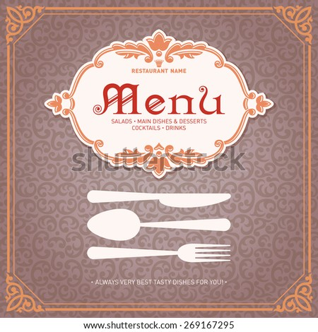 Restaurant Menu Design Vintage Style Template 1 Vector - stock vector
