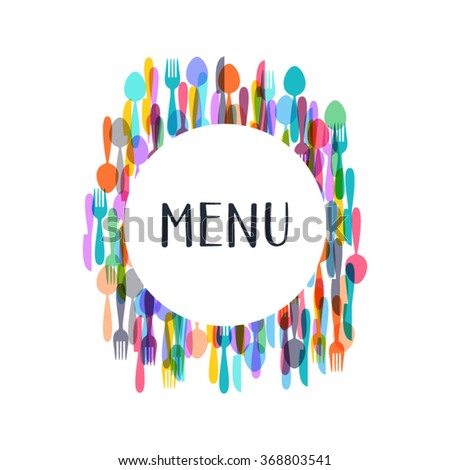 Restaurant menu design with colorful cutlery silhouette signs - stock vector