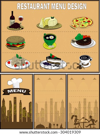 Restaurant menu design with food icons such as burger,pasta,pizza,cake,meat dish,tea,coffee,cheese,wine. Vector - stock vector