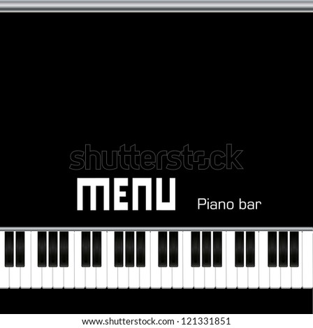 Restaurant menu design, with piano keys - stock vector