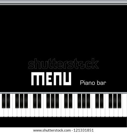 Restaurant menu design, with piano keys - stock vector