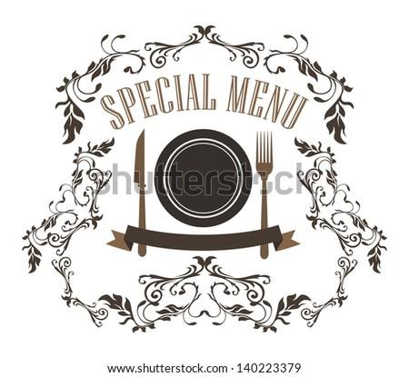 restaurant menu floral - stock vector