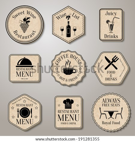 Restaurant menu food and drinks  wine list labels set isolated vector illustration - stock vector