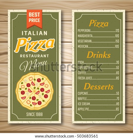 Restaurant Menu In Green Color With Italian Pizza Drinks Desserts On Wooden Background Isolated Vector Illustration