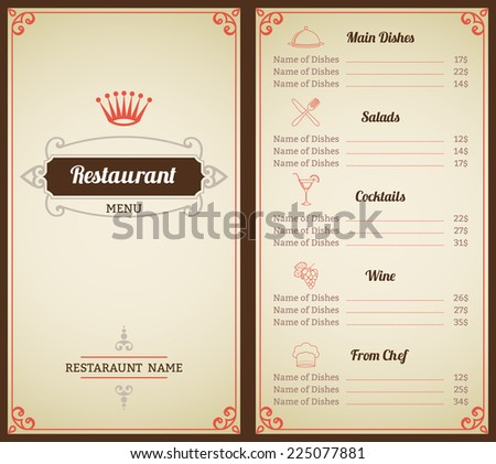 Royal Menu Cafe Restaurant Price Gold Stock Vector