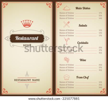 Restaurant menu list brochure with food and drink decorative elements vector illustration - stock vector