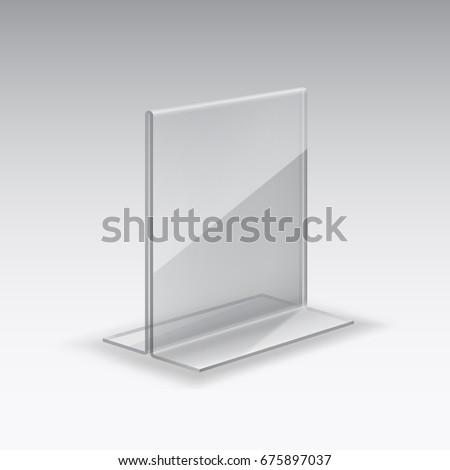 restaurant menu mock up acrylic plexiglass stock vector. Black Bedroom Furniture Sets. Home Design Ideas