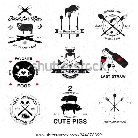 Restaurant menu retro logo, badges and design elements - stock vector