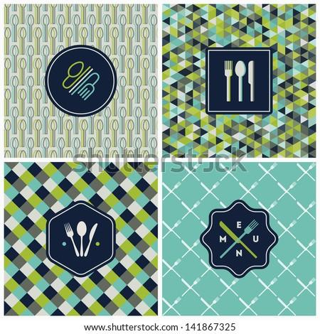 Restaurant menu seamless patterns. Vector set - stock vector