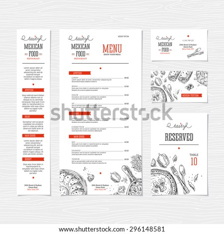 Restaurant menu template. Cafe identity. Vector illustration - stock vector