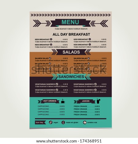 Restaurant menu, template design.Vector illustration. - stock vector