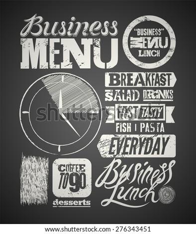 Restaurant menu typographic design on chalkboard. Vintage business lunch poster. Vector illustration. - stock vector
