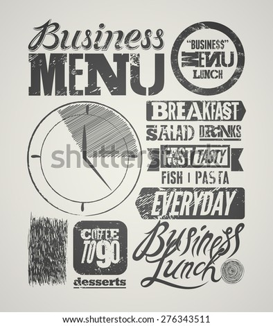 Restaurant menu typographic grunge design. Vintage business lunch poster. Vector illustration. - stock vector