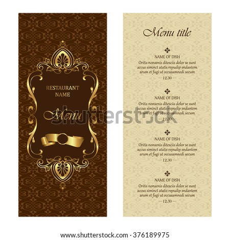 Restaurant menu vector design template - vintage style - stock vector