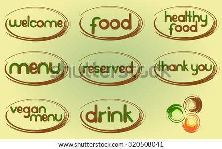 Restaurant menu. Vector set of design elements for the menu: welcome, food, healthy food, menu, reserved, thank you, vegan menu, drink. - stock vector