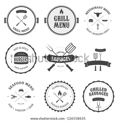 Restaurant menu vintage design elements and badges set - stock vector