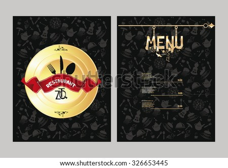 Restaurant menu with food design elements - stock vector