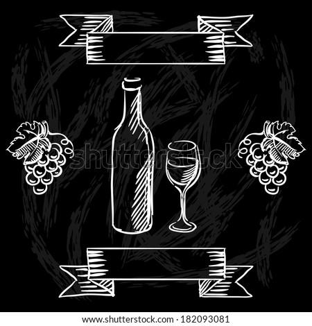Restaurant or bar wine list on chalkboard background. - stock vector
