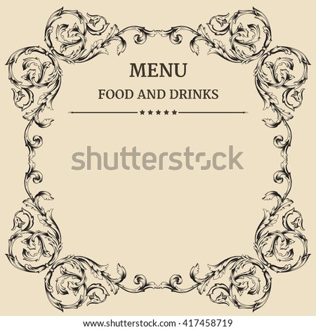 Restaurant or cafe menu label design with old floral frame for vintage menu design. Restaurant menu design.  - stock vector