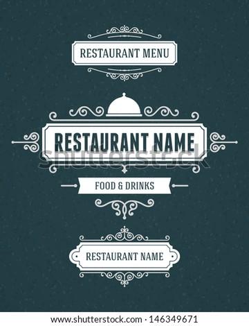 Restaurant or cafe menu vector design labels vintage style set. Flourishes calligraphic.  - stock vector